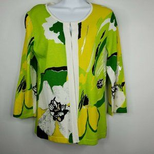 Berek Cardigan Sweater Green Yellow Floral S